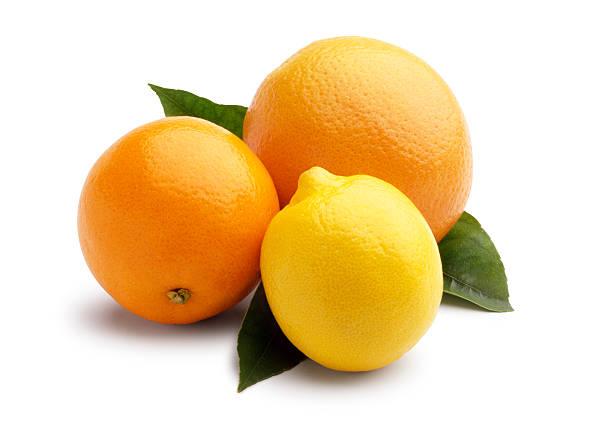 Grapefruit,orange and lemon on white background.
